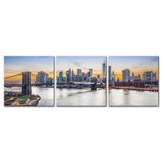 My Easy Art® 3 Pieces Modern Canvas Painting Wall Art The Picture For Home Decoration New York City Over East River Brooklyn Bridge Manhattan Buildings Cityscape Print On Canvas Giclee Artwork For Wall Decor: Amazon.ca: Home & Kitchen