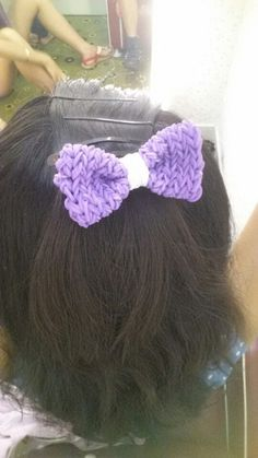 Made this bow from rainbow loom rubbers!