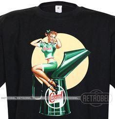 Men's t-shirt Vintage mens T-shirt Castrol oil Pin Up by retrobel1