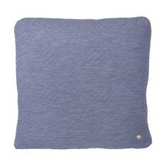 Coussin Quilt 45 x 45 Bleu Clair - Ferm Living Square Quilt, Unisex, Linen Bedding, Lana, Cushions, Throw Pillows, Quilts, Wool, Color Azul