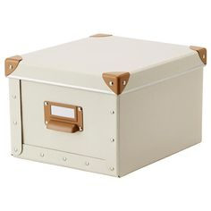 General storage: FJÄLLA Box with lid IKEA Suitable for storing chargers, remote controls, USB drives, and desk accessories. Easy to pull out as the box has a handle. Box Ikea, Ikea Storage Boxes, Storage Boxes With Lids, Small Storage, Clothes Storage Solutions, Range Document, Desk Tidy, Guest Room Office, Organiser Box