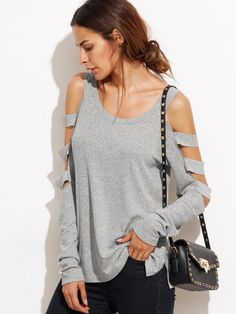 T-shirt épaules nues manche découpée - gris