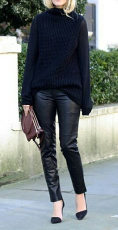 black leather-like leggings - over sized black sweater and black pointy flats is how I would wear this look