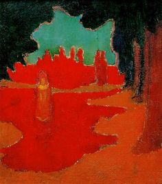Maurice Denis, Spots of Sunlight on the Terrace, 1890. Oil on Cardboard. This is perhaps one of most abstract of Denis' works, from his early Les Nabis period. 17- Maurice Denis, Martha and Mary, 1896. Oil on Canvas. Caption: The application of Denis' pictorial and symbolist theories at the service of an obvious religious theme.
