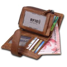 Crazy Horse Leather Wallet for Credit Cards Holder with Zipper Coin Purse Hasp Men Travel Wallet Rfid 2017 New id Card Protector