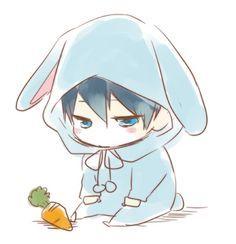 'Free Iwatobi Swim Club Haruka Nanase Chibi' Sticker by xiaokoong Anime Neko, Manga Anime, Cute Anime Chibi, Kawaii Chibi, Anime Art, Anime Boy Drawing, Kawaii Bunny, Chibi Drawing, Otaku Anime