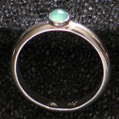 Simple Ring  - Chrysoprase Gemstone - Argentium Sterling Silver - High Polish Finish - Quality Craftsmanship - Lifetime Guarantee