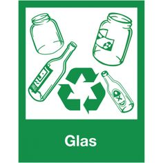 Borden en stickers voor afvalscheiding - Glas