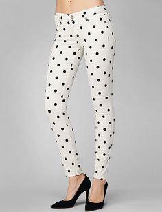 Paige Denim White Polka Dot Skinny Jeans