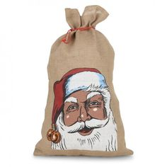 Large Father Christmas Hessian Jute Draw String Gift Bag