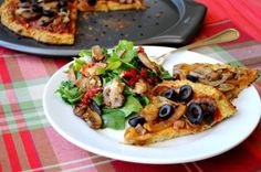 Vegan Cauliflower Crust Pizza with Caramelized Onions and Mushrooms by Hungry Healthy Girl