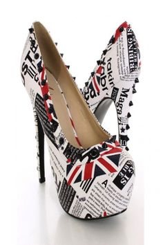 White Printed Pump Heels