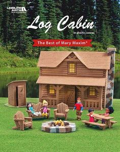Log Cabin - Log Cabin from Leisure Arts presents a fun addition to the Best of Mary Maxim collection of plastic canvas designs. This playful set will transport kids on a make-believe vacation of camping in the woods. The two-story cabin features a rustic front porch and rock chimney. From the back, there is an open view into the interior (with 3-D furniture) of the living room, kitchen, and upstairs bedrooms. A coordinating lawn set has a fire pit, picnic table, Adirondack chairs, and an…