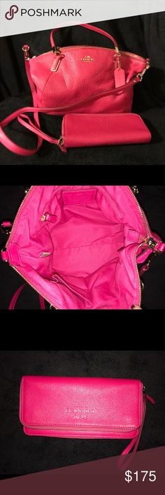 Authentic Coach Medium Kelsey w/ matching wallet Fuschia pebbled leather Coach satchel, new without tags! Purse and wallet never used. Messenger strap included. Wallet with multiple openings. Coach Bags Satchels