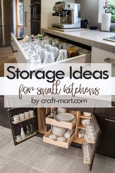 14 Clever Storage Ideas for Small Kitchens - Craft-Mart Clever Storage Ideas for Small Kitchens - coffee cups and plates storage solutions Small Kitchen Organization, Small Kitchen Storage, Kitchen Cabinet Storage, Kitchen Hacks, Kitchen Cabinets, Organization Hacks, Kitchen Ideas, Storage Hacks, Kitchen Pantry