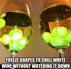 So simple, why didn't I think of this! Freeze grapes to chill wine without watering it down