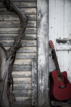 The barn and guitar.