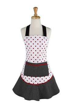 Black & Red Polka Dot Ruffle Apron