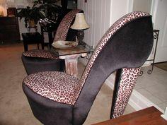 Leopard High Heel Chair Caravan Infinity Zero Gravity 123 Best Shoe Chairs Images Cool Furniture Unusual Painted Woman Cave