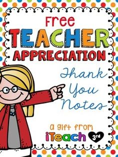 FREE Teacher Appreciation Thank You Cards for all those sweet gifts from your students, parents and coworkers!