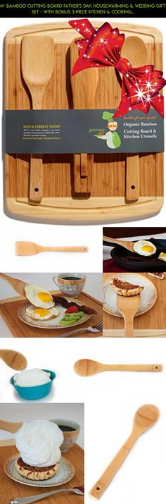 ♻ Bamboo Cutting Board Father's Day, Housewarming & Wedding Gift Set - With Bonus 3-Piece Kitchen & Cooking Utensils - Wooden Spoon, Salad Tongs & Wood Spatula - Greener Chef #shopping #gadgets #cooking #technology #drone #camera #fpv #products #pot #plans #racing #kit #tech #parts #outdoor #big