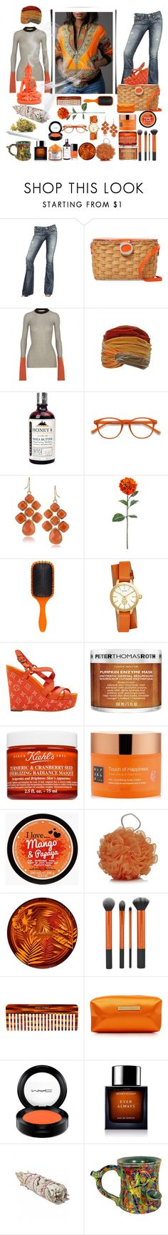 """Hybrid: Tangerine Power"" by ohitsjanedoe ❤ liked on Polyvore featuring True Religion, Frances Valentine, Marni, EyeBuyDirect.com, 1st & Gorgeous by Carolee, Denman, Tory Burch, Louis Vuitton, Peter Thomas Roth and Kiehl's"