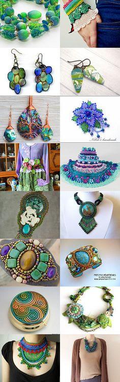 Inspiring blue and green creations ... by Nicole Barrière-Jahan on Etsy--Pinned with TreasuryPin.com