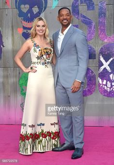 Margot Robbie and Will Smith attend the European Premiere of 'Suicide Squad' at Odeon Leicester Square on August 3 2016 in London England