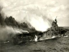 ww2 pics | US Aircraft Carrier Heavily Damaged
