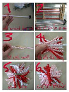 How to make curly ribbon bows Ribbon Hair Bows, Diy Hair Bows, Diy Bow, Ribbon Art, Diy Ribbon, Ribbon Crafts, Diy Crafts, Hair Bow Tutorial, Making Hair Bows