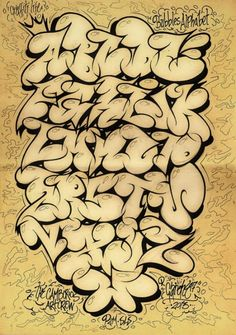 2013 Bubble Alphabet Graffiti Sketches by GAR