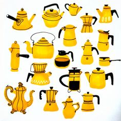 Coffee break by Marie Åhfeldt, Mås Illustra. www.masillustra.se #yellow #coffee #interiordesign #illustration #masillustra