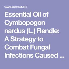 Essential Oil of Cymbopogon nardus (L.) Rendle: A Strategy to Combat Fungal Infections Caused by Candida Species.  - PubMed - NCBI