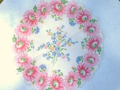 Vintage Round Floral Handkerchief by jclairep on Etsy, $4.00
