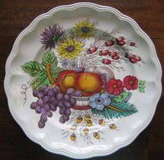 Decorative Dishes - Decorative Plate - Hand Colored Grapes Peaches Daisies Scalloped Edge Large, $29.99 (http://www.decorativedishes.net/decorative-plate-hand-colored-grapes-peaches-daisies-scalloped-edge-large/)