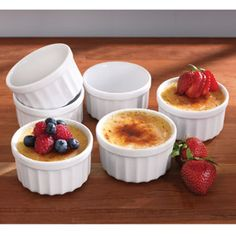 CHEFS Ramekin Set, 6 piece  Perfect size 6-oz. porcelain ramekins to bake individual desserts or entrees, serve condiments, dips or sauces. $16.95