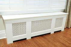 Fab DYI radiator cover. Great ideas on building added storage with cover.