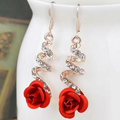 Red Rose Crystal Flower Earrings – BZLUX