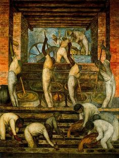 The Sugar Mill, 1923 by Diego Rivera. Muralism. genre painting. Ministry of Public Education, Mexico City, Mexico