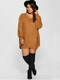 Plus Size Distressed Longline Pullover Sweater - EARTHY 4XL Plus size women's clothing  | Plus size clothing | Plus size dresses | Plus size fashion