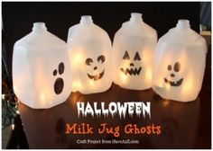 You have super cute milk jug halloween decorations for your home easy halloween craft ideas milk jug ghosts lots of  Halloween Milk Jugs, Halloween Mason Jars, Halloween Pumpkins, Halloween Crafts For Kids, Diy Halloween Decorations, Halloween Lanterns, Halloween Party, Halloween Maze, Halloween Costumes