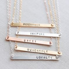 Personalized Rose Gold Name Bar Necklace