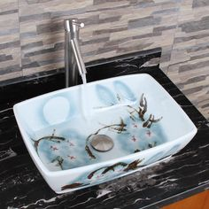 ELIMAX'S 2023 Square Oriental Art Style Porcelain Ceramic Bathroom Vessel Sink - Overstock Shopping - Great Deals on Bathroom Sinks