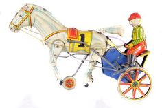 Unknown Japanese Maker - Clockwork Figure of a Horse with Jockey & Cart - Circa. 1930s... Click VISIT to find out more and see a wide range of Tin Plate Toys at MAD On Collections... Check us out on Facebook - https://www.facebook.com/Mad-on-Toys-1489499904472091/... Please feel free to pin or share this pin or any other content from MADonC.com. MADonC.com is for passionate collectors of all objects with 1000's of categories on view... #toys #tinplate #tinplatetoys