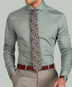The Green twill cutaway shirt paired with a Slate floral wool tie.www.Grandfrank.com