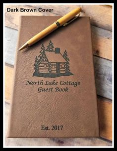 Guest Book Journal, Personalized Leather Journal, Engraved, Lined Journal, Travel Journal, Gift, Custom Leatherette Journal, Cabin, Lake, Camp #personalizedjournal #leatherjournal #customjournal #traveljournal #monogrammedjournal #3rdanniversary #customnotebook #linedjourna #guestbook