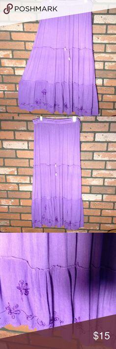 Boho skirt Adorable Liliac  gauze material with decorative embossed pattern at bottom. Very comfy with elastic waistband. EUC Skirts Midi