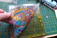 How funny is this? I was playing with my Gelli plate, after a long time away from it, and doing the packing tape thing. I tried sticker paper (too dull) and while I had the Mac shut down (still p...