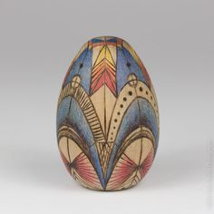 Clockwork, Wood Pysanky Easter Heirloom egg, multicolored 2-inch woodburned engraved