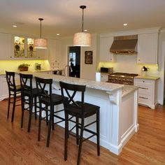 deciding on one level or two level island Kitchen Redo, Open Kitchen, Kitchen Living, Kitchen Remodel, Kitchen Cabinets, Kitchen Ideas, Kitchen Layout, Country Kitchen, Kitchen Peninsula